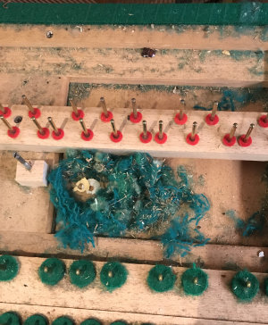 Mouse nest in a piano, made from felt in the piano itself
